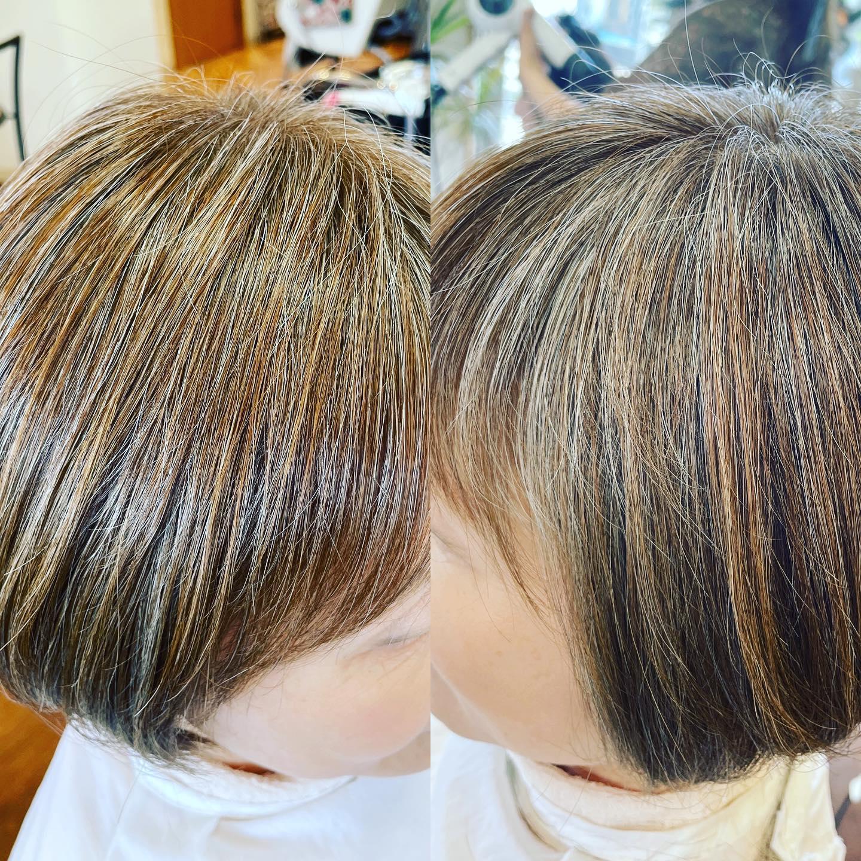 白髪30%のお客様を明るめチャコールグレーでカラー艶感ありハイライト感ありのオシャレなグラボブになりました
